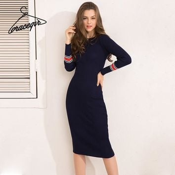 Gracegirl Winter Women Dresses Series Spring Striped Fitness Knitted Sweater Dress Casual Bodycon Slim Midi Vestidos SA231095