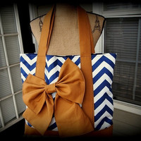 Handmade navy and white chevron tote bag with tan by AddieLou
