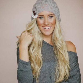 Knitted Lace Button Beanie in Taupe
