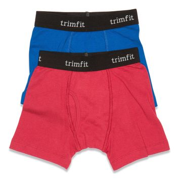 2-Pack 100% Combed Cotton Boxer Briefs (Blue/Red)
