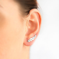 Feather ear pin, hypoallergenic earring.
