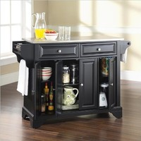 Crosley Furniture LaFayette Stainless Steel Top Kitchen Island, Black