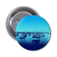 Blue Boats on Blue Bay 2 Inch Round Button