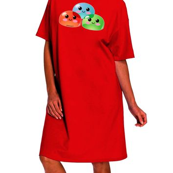 Cute RPG Slime - Trio Dark Adult Night Shirt Dress by TooLoud