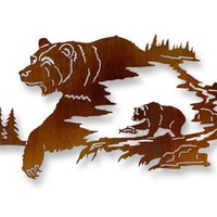 Laser Cut Metal Wall Art with Bear
