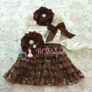 Country Flower Girl's Dress/ Girl's Chocolate Beige Flower Lace Dress set