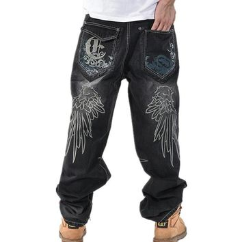 New Spring Men Loose Jeans Hip Hop Embroidery skateboarders baggy pants trousers Plus Size Denim Cowboy pant Bottoms