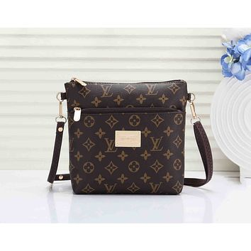 LV Fashionable Women Shopping Louis Vuitton Coffee Monogram Leather Shoulder Bag Crossbody Satchel