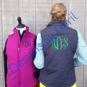 Ladies Monogrammed PUFF Vest - Perfect for Christmas- Monogram Gift
