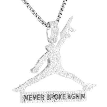 Basketball Jumpman Dunk with Gun Pendant Tennis Chain