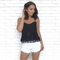 Lace To Amaze Tank in Black