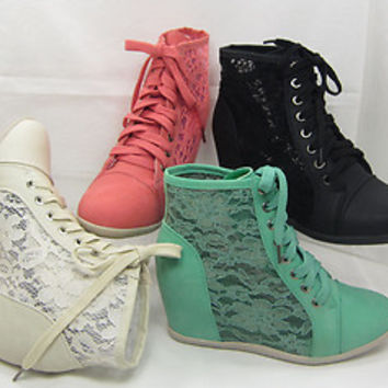 Womens Lace Side Cut Out High Top Sneaker Hidden Wedge Heels Shoes dana-12