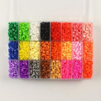 Hama Beads~Perler Beads~Fuse Beads 5mm Set of 24 Color 5500pcs+pegboard+5 Iron Paper+1 Tweezers, kids toys educational PUPUKOU