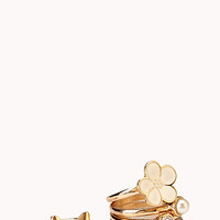 FOREVER 21 Hyperfemme Ring Set Gold/Cream