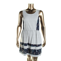 Maison Jules Womens Printed Contrast Trim Casual Dress