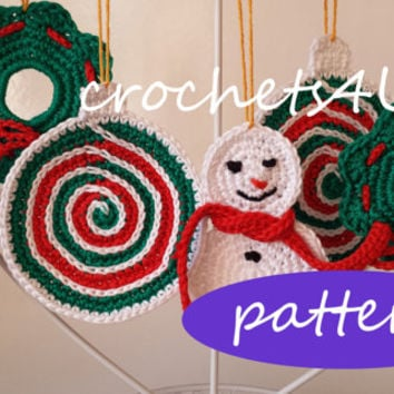 3 patterns crocheted christmas decorations / pdf in English