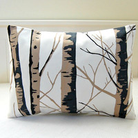 birch trees charcoal grey , black , beige decorative pillow cover, trees woodland lumbar cushion cover 16 inch