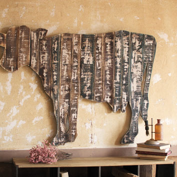 RECLAIMED WOODEN WALL HANGING - COW