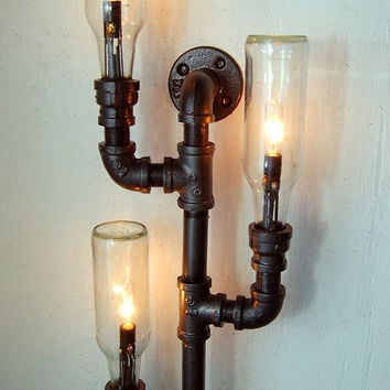 Pipe lamp. Industrial lighting. Wall sconce. Steampunk lamp. Repurposed bottle lamp.