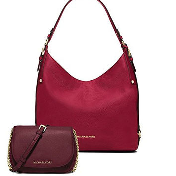 Michael Kors Women's New Fashion Large Leather Shoulder Bag+Bedford Small Leather Crossbody Scarlet