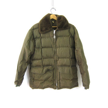 Army Green Puffy Coat Puffer Coat Down Insulated Metal Talon Zipper Winter Coat Hipster Bomber Jacket 1970s retro Utility Coat Medium Large