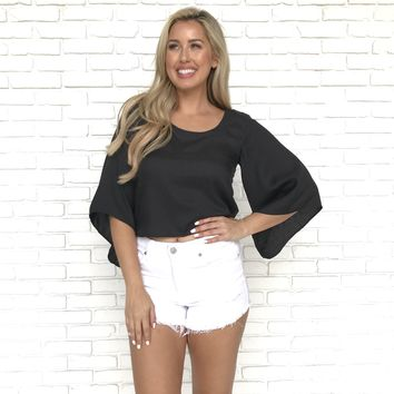 Knot to Mention Black Bell Sleeve Blouse