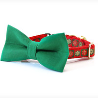 "Holiday Bow Tie Cat Collar Set - ""Let It Snow"" - Green Detachable Bow Tie + Red Christmas Collar"