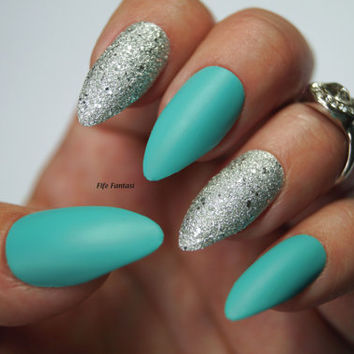 Pastel blue stiletto nails, Nail designs, Nail art, Stiletto nails, False nails, Acrylic nails, Pointy nails, Fake nails, press on nails