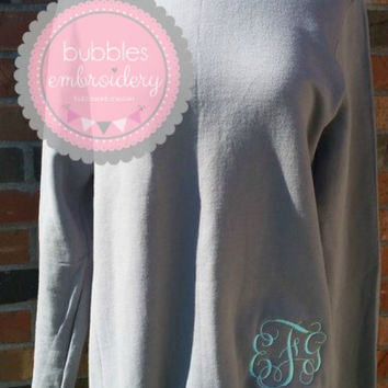 Monogrammed Sweatshirt with Bottom Placement grey Ladies