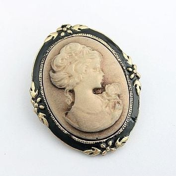 Cool Vintage Jewelry Cameo Brooch Fashion Queen head Brooch Pins For Women Wedding Costume Accesories 5X014AT_93_12