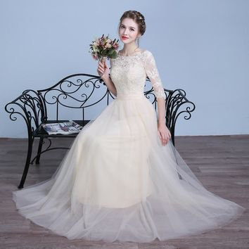 Pink Prom Dresses Champagne Gray Lace Applique Flowing Tulle Long 3/4 Sleeves Special Occasion Evening Gowns