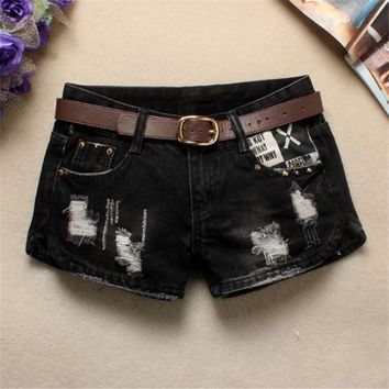 high waist jeans fashion Cat rivet Split ends Thin All-match ripped jean shorts