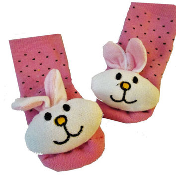 3D Bunny Rattle with Pink Baby Sock- Non Skid 0-12 months