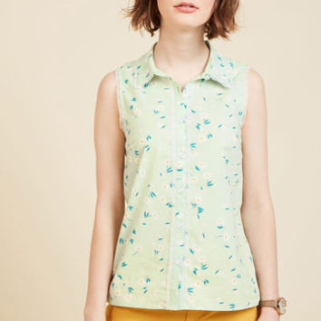 Keep Up the Kindness Sleeveless Top in Mint | Mod Retro Vintage Short Sleeve Shirts | ModCloth.com