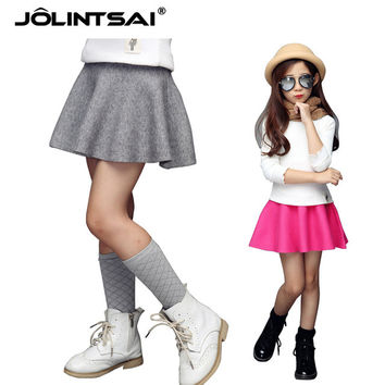 Kids Skirts For Girls 2016 Autumn Wool Saia Tutu Skirt Baby Girl High Waist Princess Teenage School Pettiskirt Solid Child Skirt