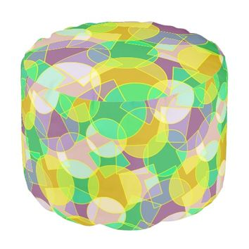 Stained glass geometric pattern round pouf