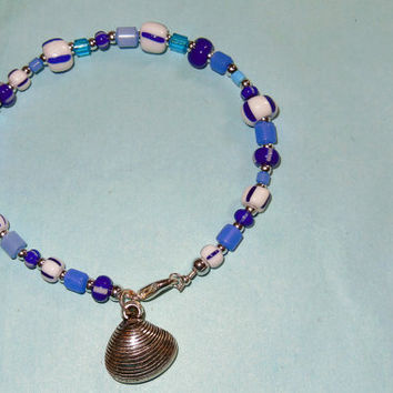 Czech Glass Seaside Bracelet with Clam Charm