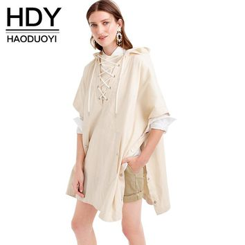 New Fashion Autumn Women Beige Solid Lace Up Front Hooded Cape Poncho Trench Coat Belt Pleated Outwear