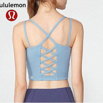 Lululemon athletica women's fitness yoga high stretch sports bra backless fish net Blue