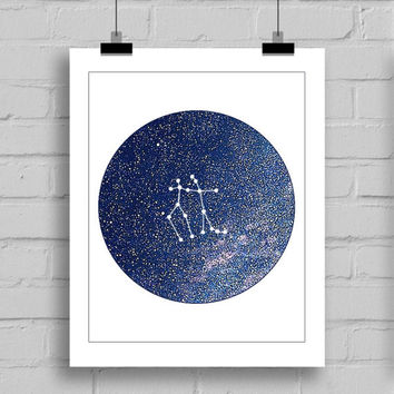 Gemini Constellation Wall Art Print - Zodiac Themes Printable Home Decor Wall Art (JPG/PDF) 8x10
