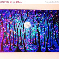 Original oil painting Abstract modern contemporary commission painting springtime moon -36 x 24-  Free shipping in cont US - Vadal