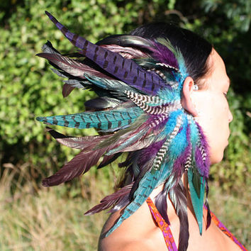 Handmade Large Feather Ear Cuff, Feather Headpiece, Tribal Feather Headdress, Festival Headdress, Peacock, Teal Feathers, Burning Man