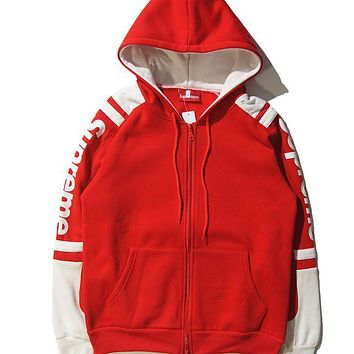 Supreme Fashion Women Men Casual Print Zipper Hoodie Sweatshirt Top Sweater Coat I