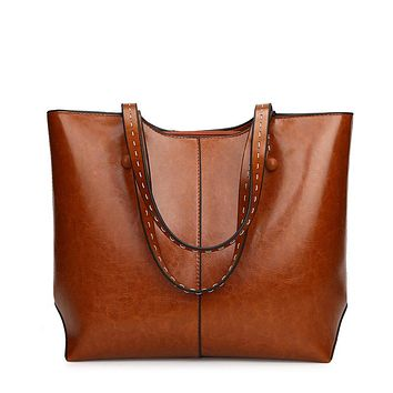PU Leather Large Capacity Travel Tote Bag