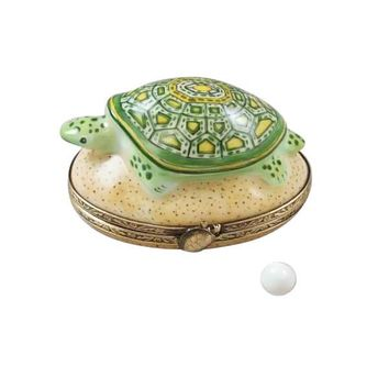 Rochard Turtle w Egg Limoges Boxes Porcelain French