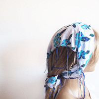 Blue and White Floral Spring Headband, Cotton Head Scarf, Women's Head Wrap, Summer Beach Hair Band Boho Casual, Head Chain, For Women
