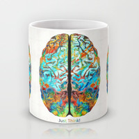Colorful Brain Art - Just Think - By Sharon Cummings Mug by Sharon Cummings