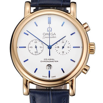 Omega Seamaster Vintage Chronograph White Dial Blue Hour Marks Gold Case Blue Leather Strap