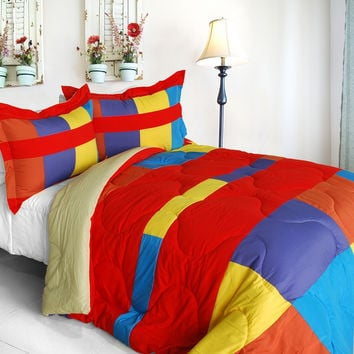 Antique Young Quilted Patchwork Down Alternative Comforter Set in Full/Queen Size