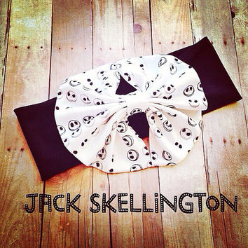 jack Skellington nightmare before Christmas  Messy Big bow Head wrap  headband